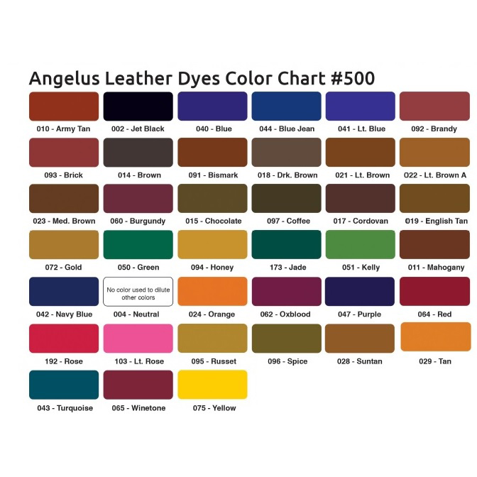 angelus leather dye colour chart